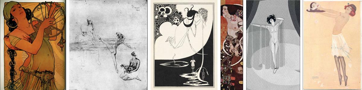 1.Salome (1897), Alphonse Mucha 2. Salome (1905), Pablo Picasso 3. The Climax, illustration for Oscar Wilde's 'Salome' (1907), Aubrey Beardsley 4. Judith II (Salome) (1909), Gustav Klimt 5. (detail) Illustration for Oscar Wilde's 'Salome' (1927), John Vassos 6. Salome, Raphael Kirchner (c.1876-1917)